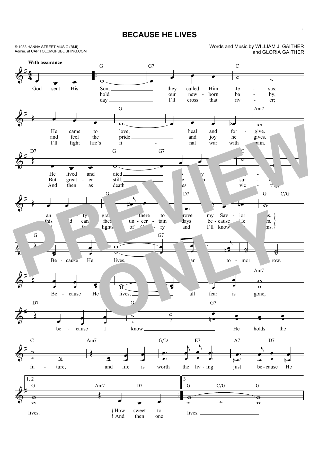Gloria Gaither Because He Lives sheet music preview music notes and score for Super Easy Piano including 2 page(s)