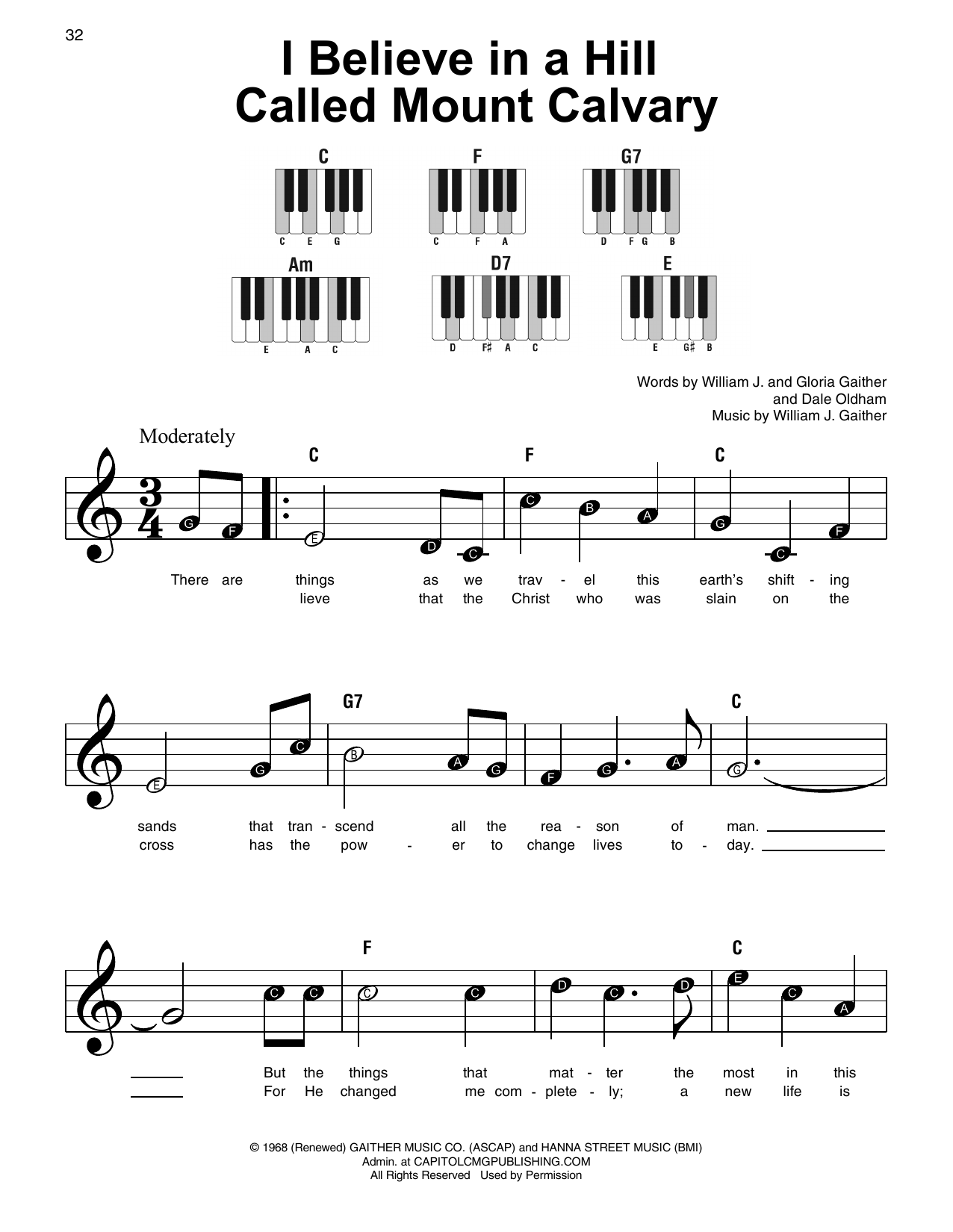 Gloria Gaither I Believe In A Hill Called Mount Calvary sheet music preview music notes and score for Super Easy Piano including 2 page(s)
