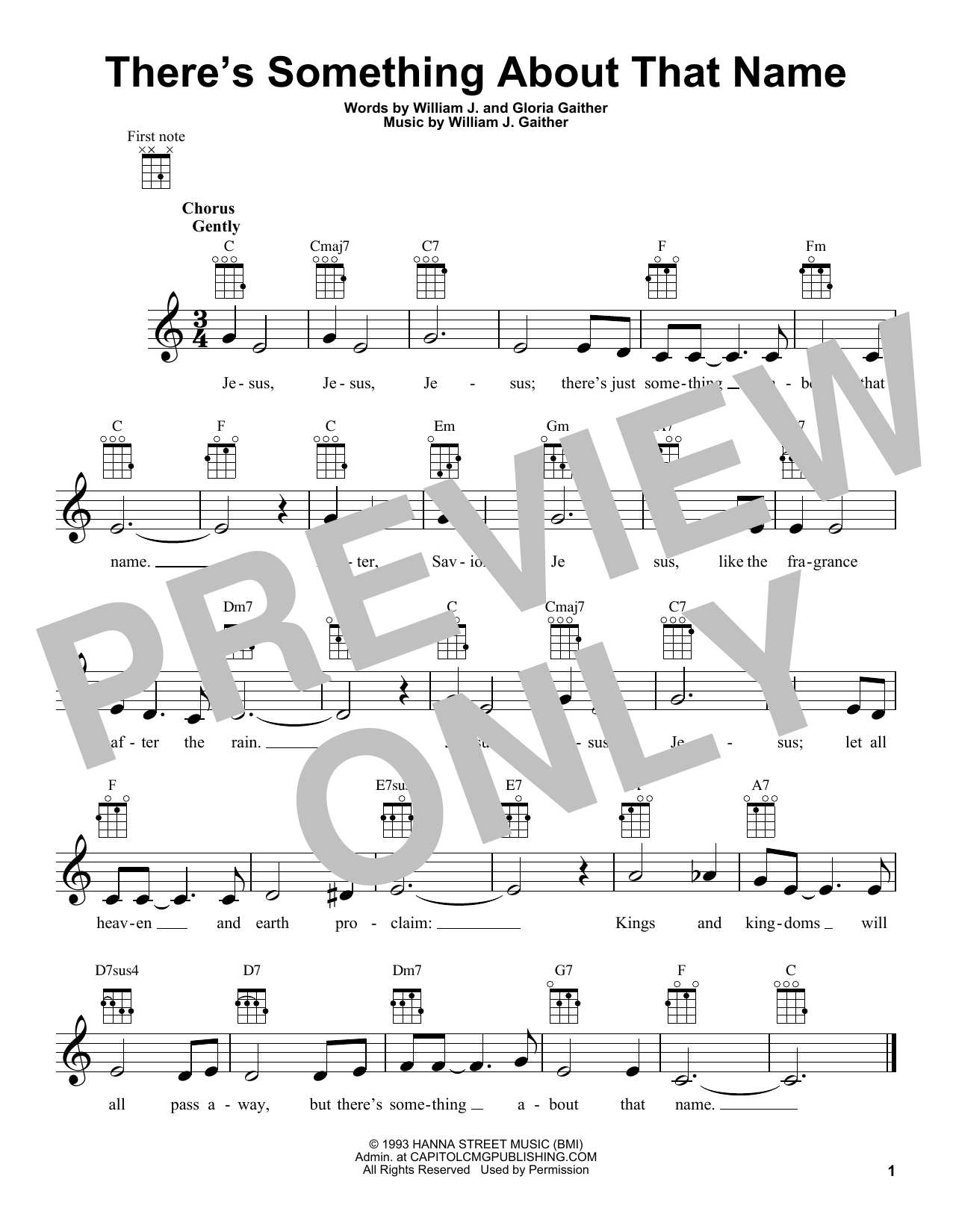 Gloria Gaither There's Something About That Name sheet music preview music notes and score for Super Easy Piano including 2 page(s)