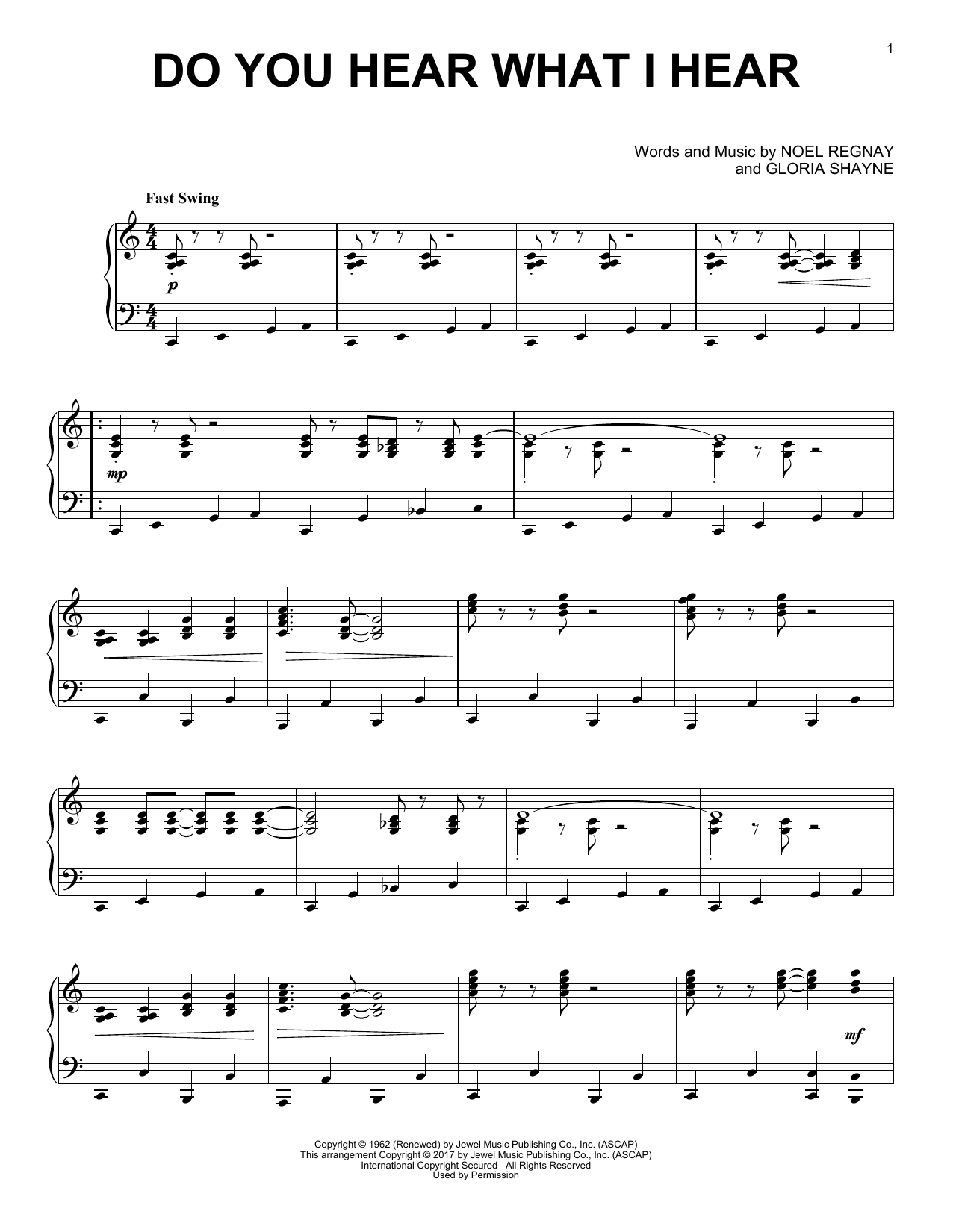 Download Gloria Shayne 'Do You Hear What I Hear' Digital Sheet Music Notes & Chords and start playing in minutes