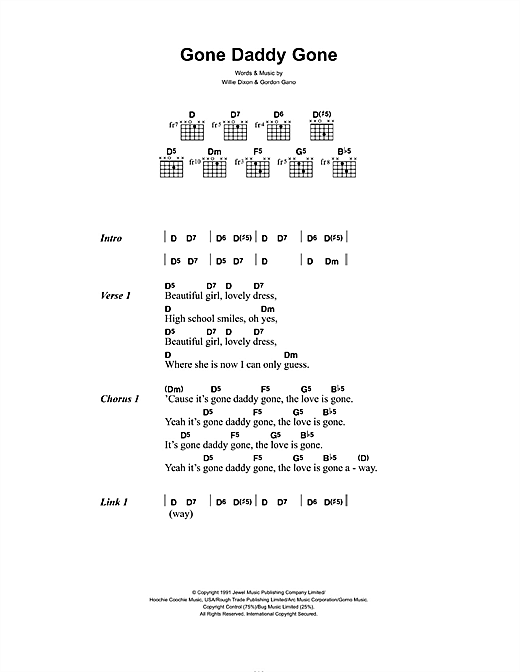 Gnarls Barkley Gone Daddy Gone sheet music notes and chords