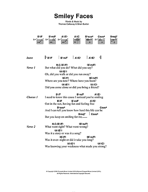Gnarls Barkley Smiley Faces sheet music notes and chords