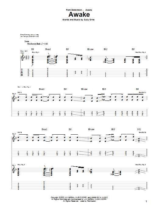 Godsmack Awake sheet music preview music notes and score for Guitar Tab including 10 page(s)