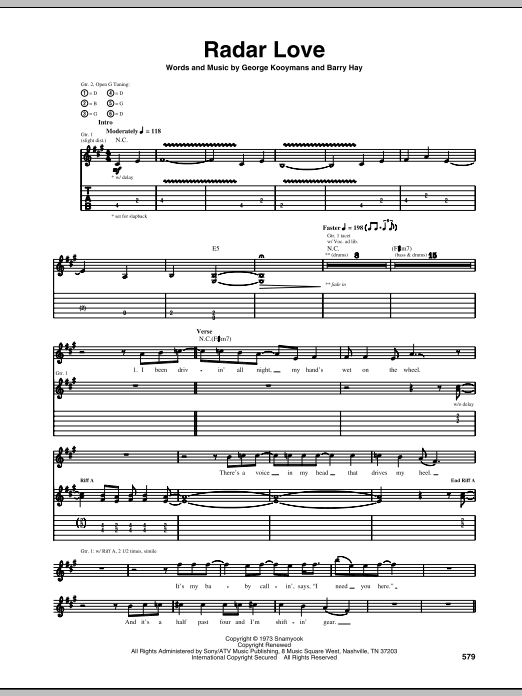 Golden Earring Radar Love sheet music preview music notes and score for Piano, Vocal & Guitar (Right-Hand Melody) including 8 page(s)