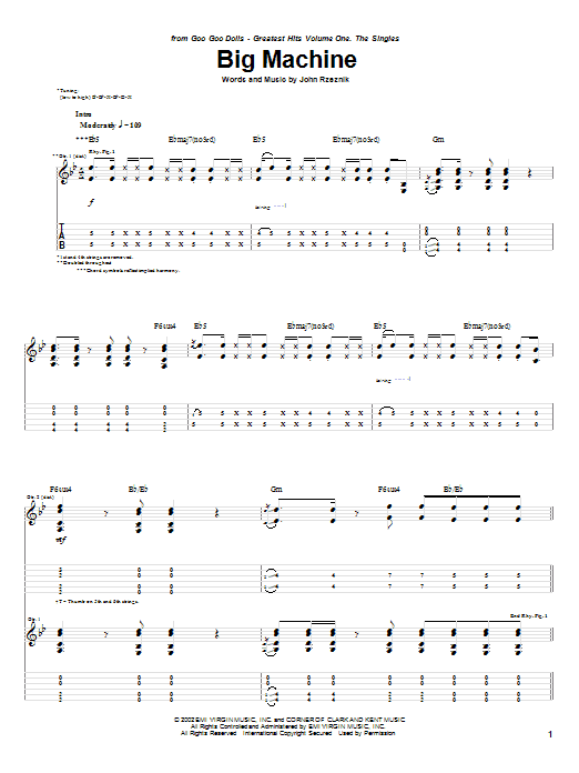 Goo Goo Dolls Big Machine sheet music preview music notes and score for Guitar Tab including 7 page(s)
