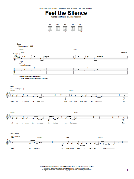 Goo Goo Dolls Feel The Silence sheet music preview music notes and score for Guitar Tab including 7 page(s)