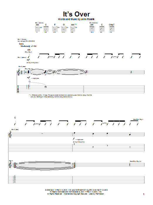 Goo Goo Dolls It's Over sheet music preview music notes and score for Guitar Tab including 8 page(s)