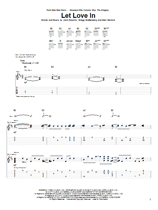 Goo Goo Dolls Let Love In sheet music preview music notes and score for Guitar Tab including 14 page(s)