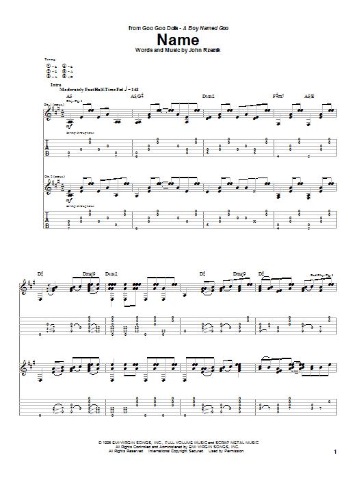 Goo Goo Dolls Name sheet music notes and chords