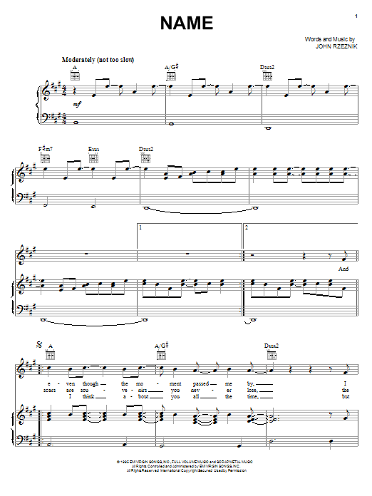 Goo Goo Dolls Name sheet music preview music notes and score for Guitar Tab including 9 page(s)