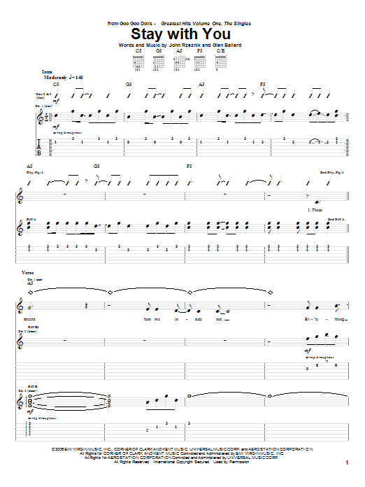Goo Goo Dolls Stay With You sheet music notes and chords
