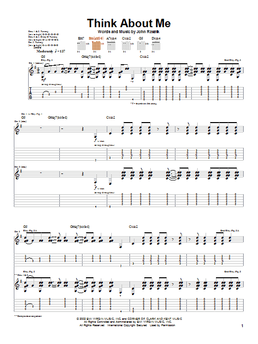 Goo Goo Dolls Think About Me sheet music preview music notes and score for Guitar Tab including 10 page(s)