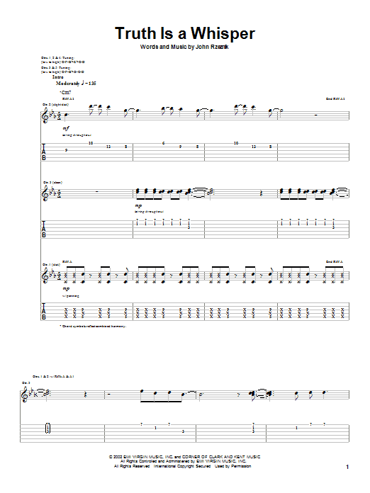 Goo Goo Dolls Truth Is A Whisper sheet music preview music notes and score for Guitar Tab including 12 page(s)