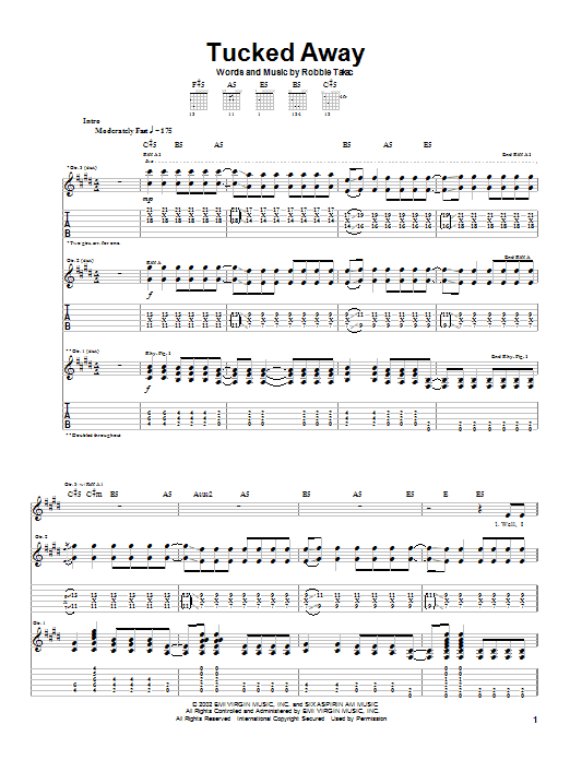 Goo Goo Dolls Tucked Away sheet music notes and chords