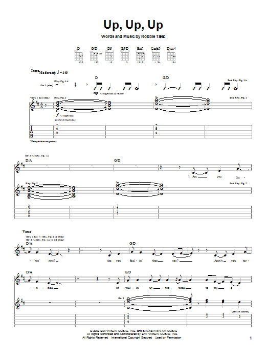 Goo Goo Dolls Up, Up, Up sheet music preview music notes and score for Guitar Tab including 5 page(s)