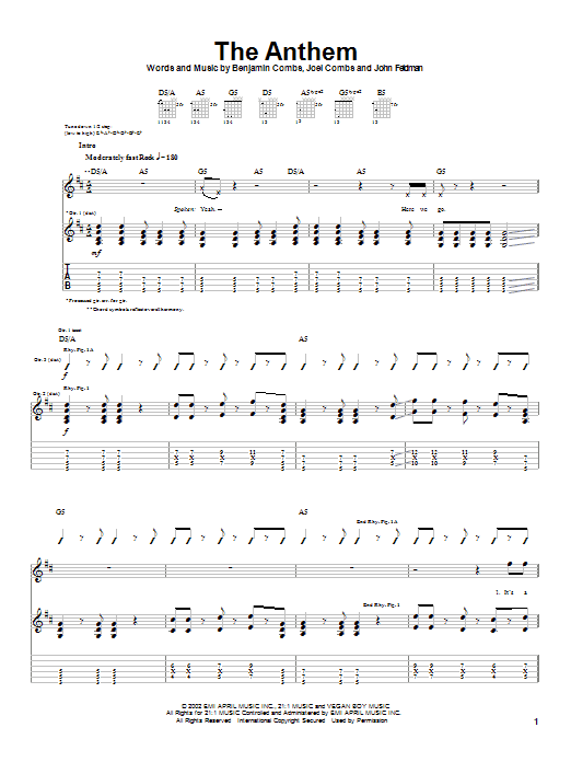Good Charlotte The Anthem sheet music preview music notes and score for Piano, Vocal & Guitar (Right-Hand Melody) including 7 page(s)