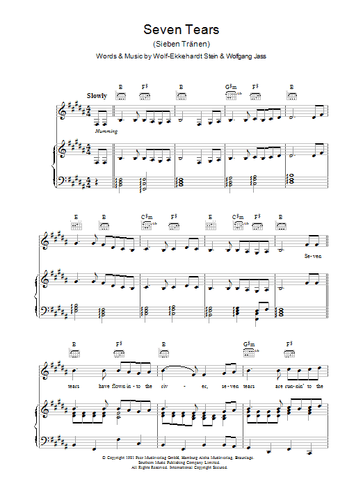 Goombay Dance Band Seven Tears sheet music preview music notes and score for Piano, Vocal & Guitar (Right-Hand Melody) including 6 page(s)