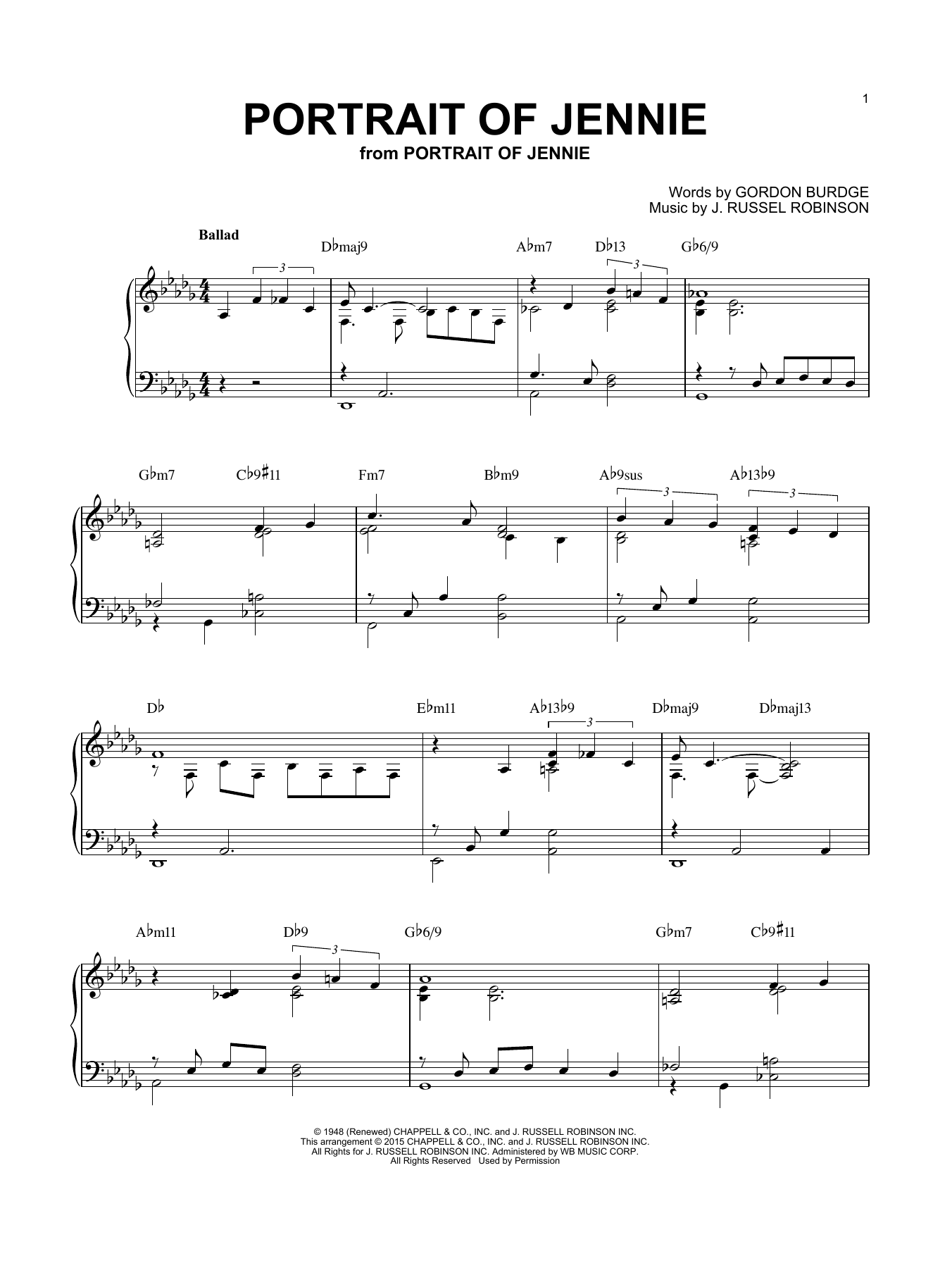 Download Brent Edstrom 'Portrait of Jennie' Digital Sheet Music Notes & Chords and start playing in minutes