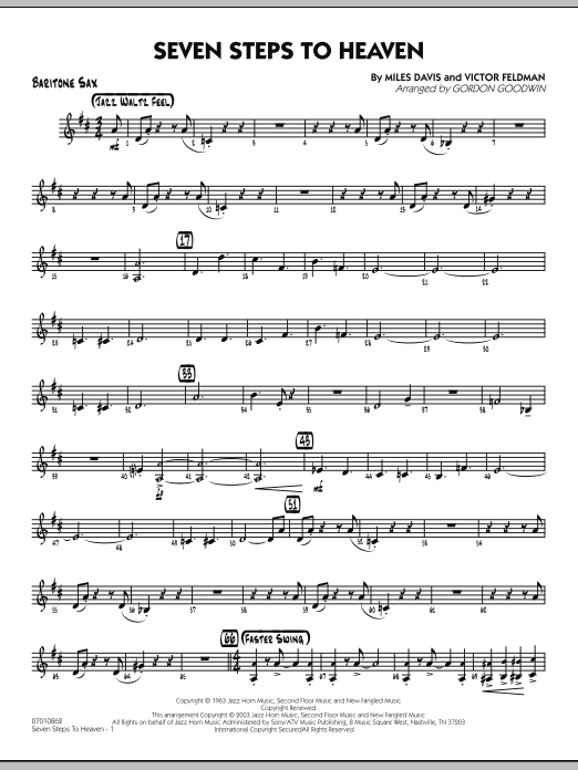 Gordon Goodwin Seven Steps To Heaven - Baritone Sax sheet music preview music notes and score for Jazz Ensemble including 3 page(s)