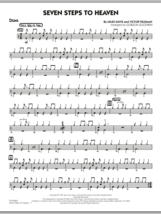 Gordon Goodwin Seven Steps To Heaven - Drums sheet music preview music notes and score for Jazz Ensemble including 3 page(s)