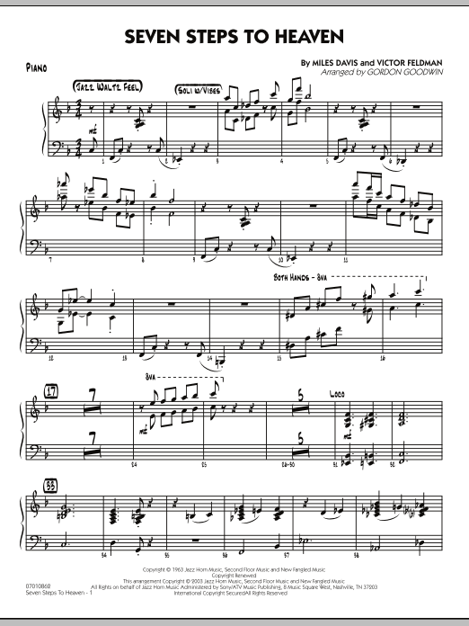 Gordon Goodwin Seven Steps To Heaven - Piano sheet music preview music notes and score for Jazz Ensemble including 6 page(s)