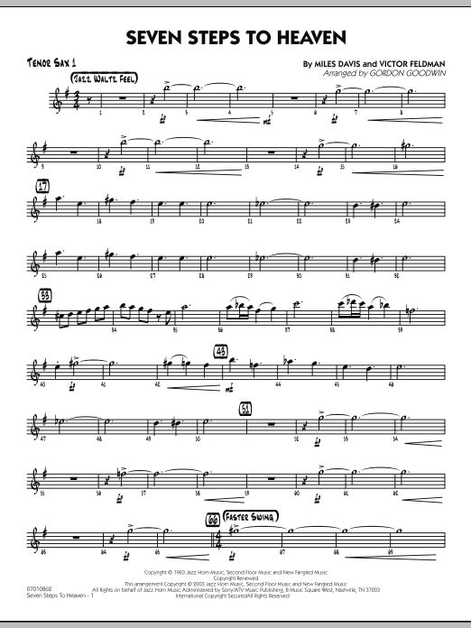 Gordon Goodwin Seven Steps To Heaven - Tenor Sax 1 sheet music preview music notes and score for Jazz Ensemble including 3 page(s)