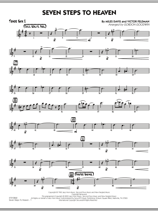 Gordon Goodwin Seven Steps To Heaven - Tenor Sax 2 sheet music preview music notes and score for Jazz Ensemble including 3 page(s)