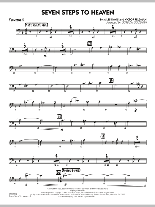 Gordon Goodwin Seven Steps To Heaven - Trombone 2 sheet music preview music notes and score for Jazz Ensemble including 3 page(s)