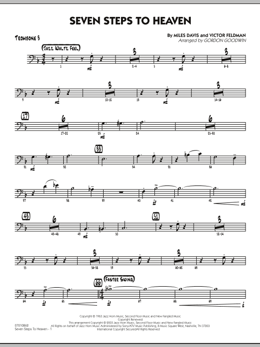 Gordon Goodwin Seven Steps To Heaven - Trombone 3 sheet music preview music notes and score for Jazz Ensemble including 3 page(s)