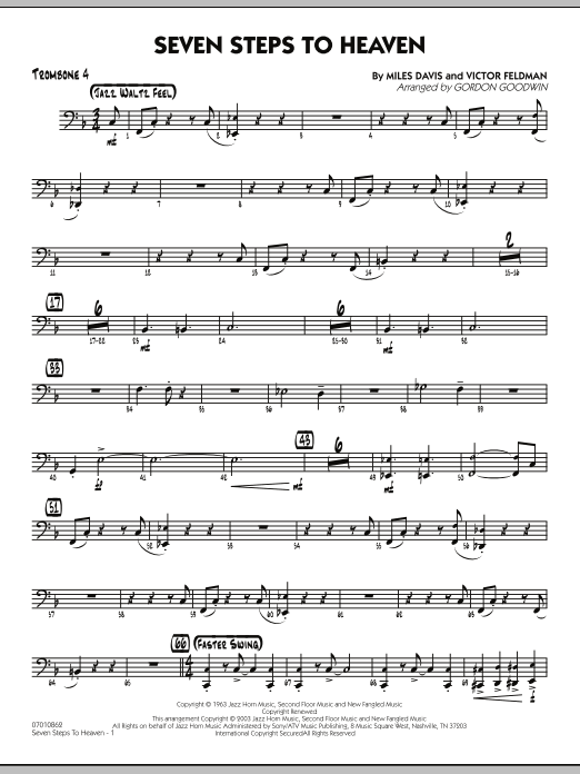 Gordon Goodwin Seven Steps To Heaven - Trombone 4 sheet music preview music notes and score for Jazz Ensemble including 3 page(s)