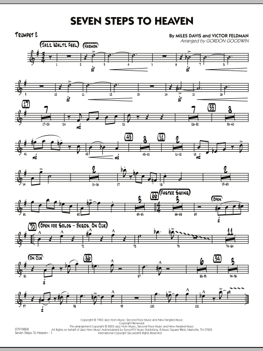 Gordon Goodwin Seven Steps To Heaven - Trumpet 2 sheet music preview music notes and score for Jazz Ensemble including 2 page(s)