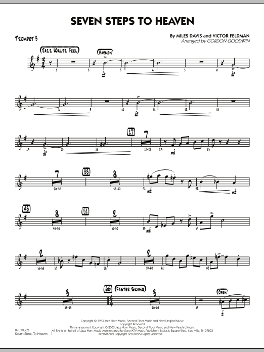 Gordon Goodwin Seven Steps To Heaven - Trumpet 3 sheet music preview music notes and score for Jazz Ensemble including 3 page(s)