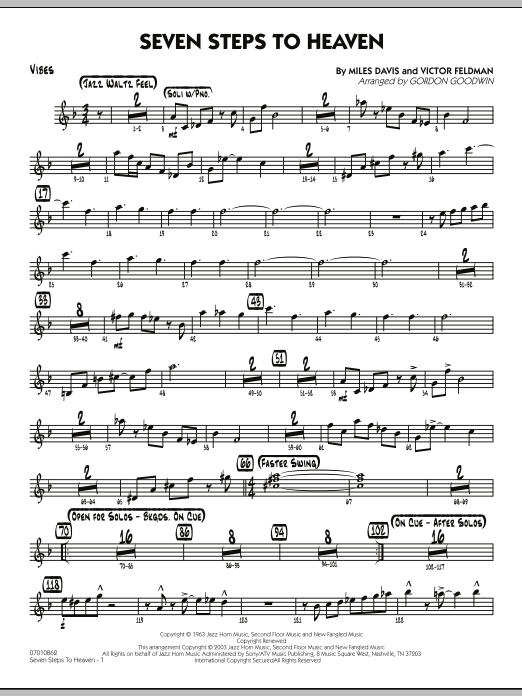 Gordon Goodwin Seven Steps To Heaven - Vibes sheet music preview music notes and score for Jazz Ensemble including 2 page(s)