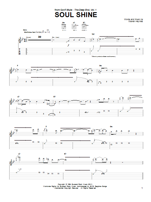 Gov't Mule Soul Shine sheet music preview music notes and score for Guitar Tab including 11 page(s)