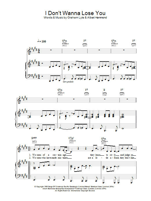 Graham Lyle I Don't Wanna Lose You sheet music preview music notes and score for Piano, Vocal & Guitar including 5 page(s)