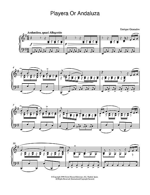 Granados Playera Or Andaluza sheet music notes and chords