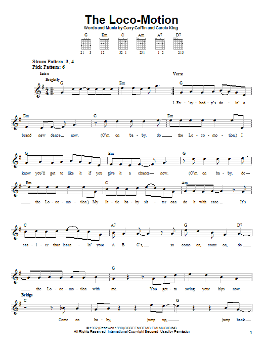 Grand Funk Railroad The Loco-Motion sheet music notes and chords