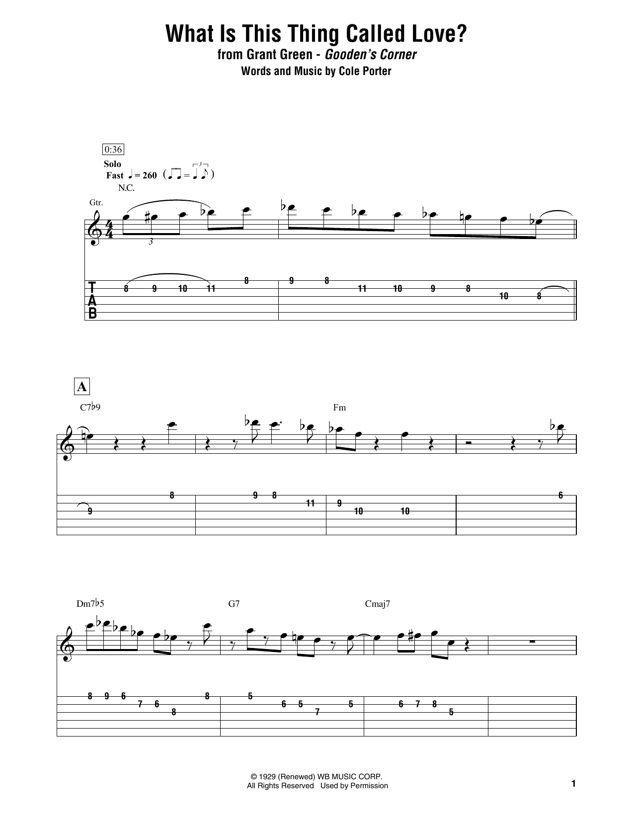 Download Grant Green 'What Is This Thing Called Love?' Digital Sheet Music Notes & Chords and start playing in minutes