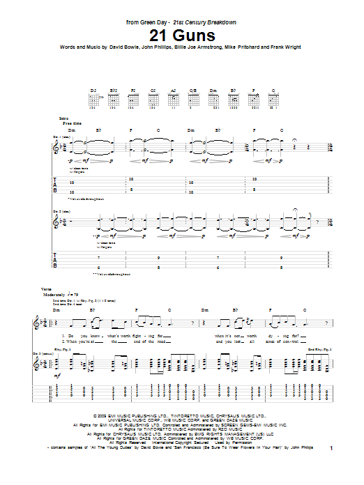 Green Day 21 Guns sheet music preview music notes and score for Easy Guitar Tab including 4 page(s)