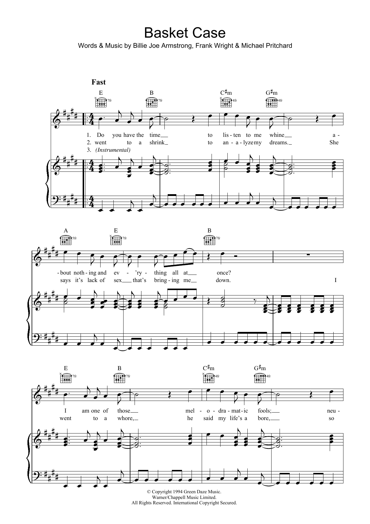 Green Day Basket Case sheet music preview music notes and score for Piano, Vocal & Guitar (Right-Hand Melody) including 7 page(s)