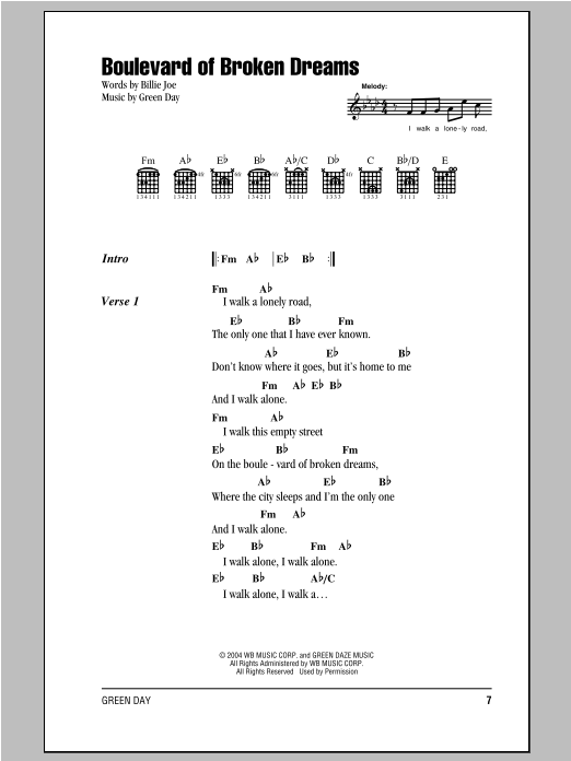 Download Green Day 'Boulevard Of Broken Dreams' Digital Sheet Music Notes & Chords and start playing in minutes