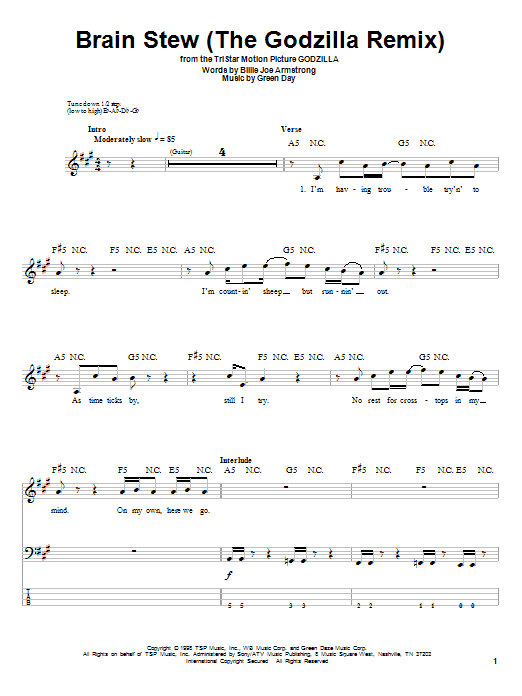 Green Day Brain Stew (The Godzilla Remix) sheet music preview music notes and score for Guitar Tab including 4 page(s)