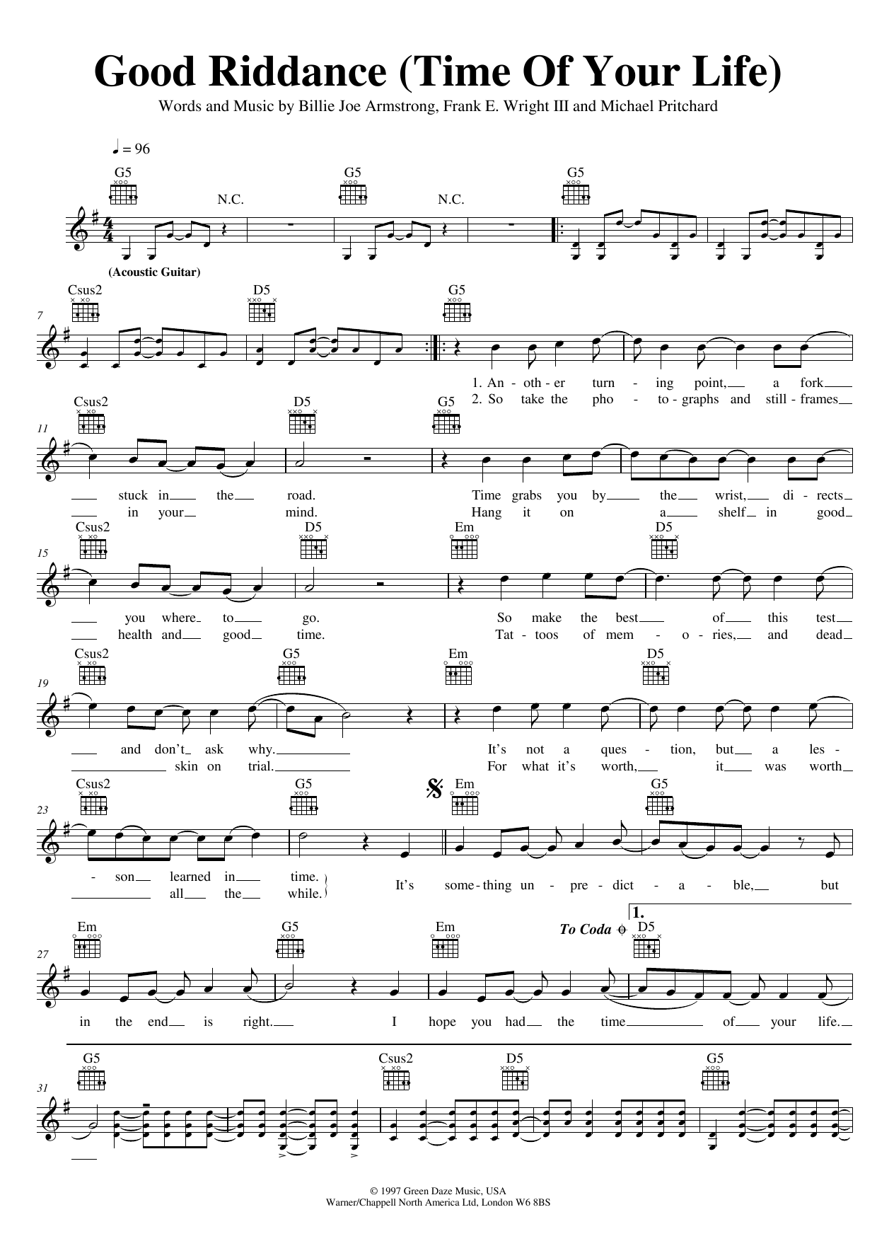 Green Day Good Riddance (Time Of Your Life) sheet music preview music notes and score for Piano, Vocal & Guitar (Right-Hand Melody) including 4 page(s)