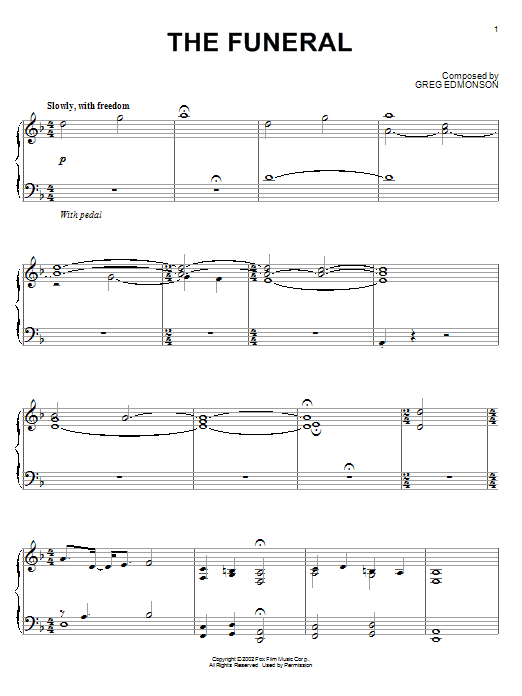 Download Greg Edmonson 'The Funeral' Digital Sheet Music Notes & Chords and start playing in minutes