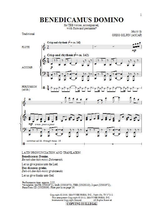 Download Greg Gilpin 'Benedicamus Domino' Digital Sheet Music Notes & Chords and start playing in minutes