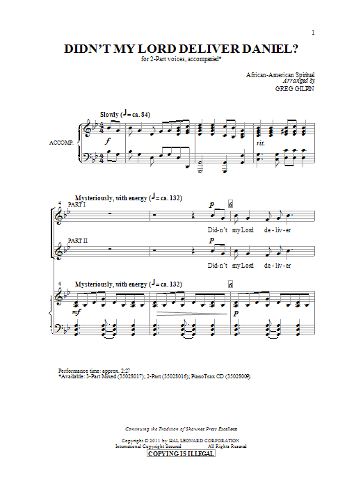 Download Greg Gilpin 'Didn't My Lord Deliver Daniel?' Digital Sheet Music Notes & Chords and start playing in minutes