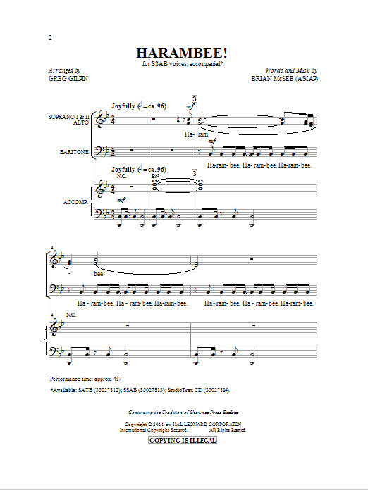Download Brian McSee 'Harambee! (arr. Greg Gilpin)' Digital Sheet Music Notes & Chords and start playing in minutes