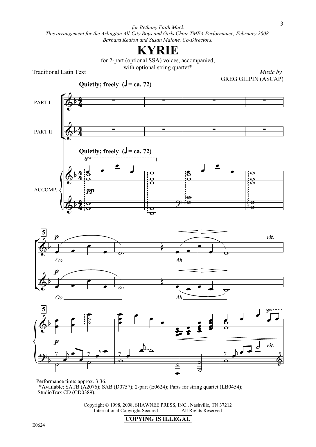 Download Greg Gilpin 'Kyrie' Digital Sheet Music Notes & Chords and start playing in minutes