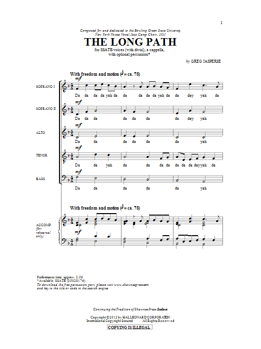 Greg Jasperse The Long Path sheet music preview music notes and score for SATB including 14 page(s)