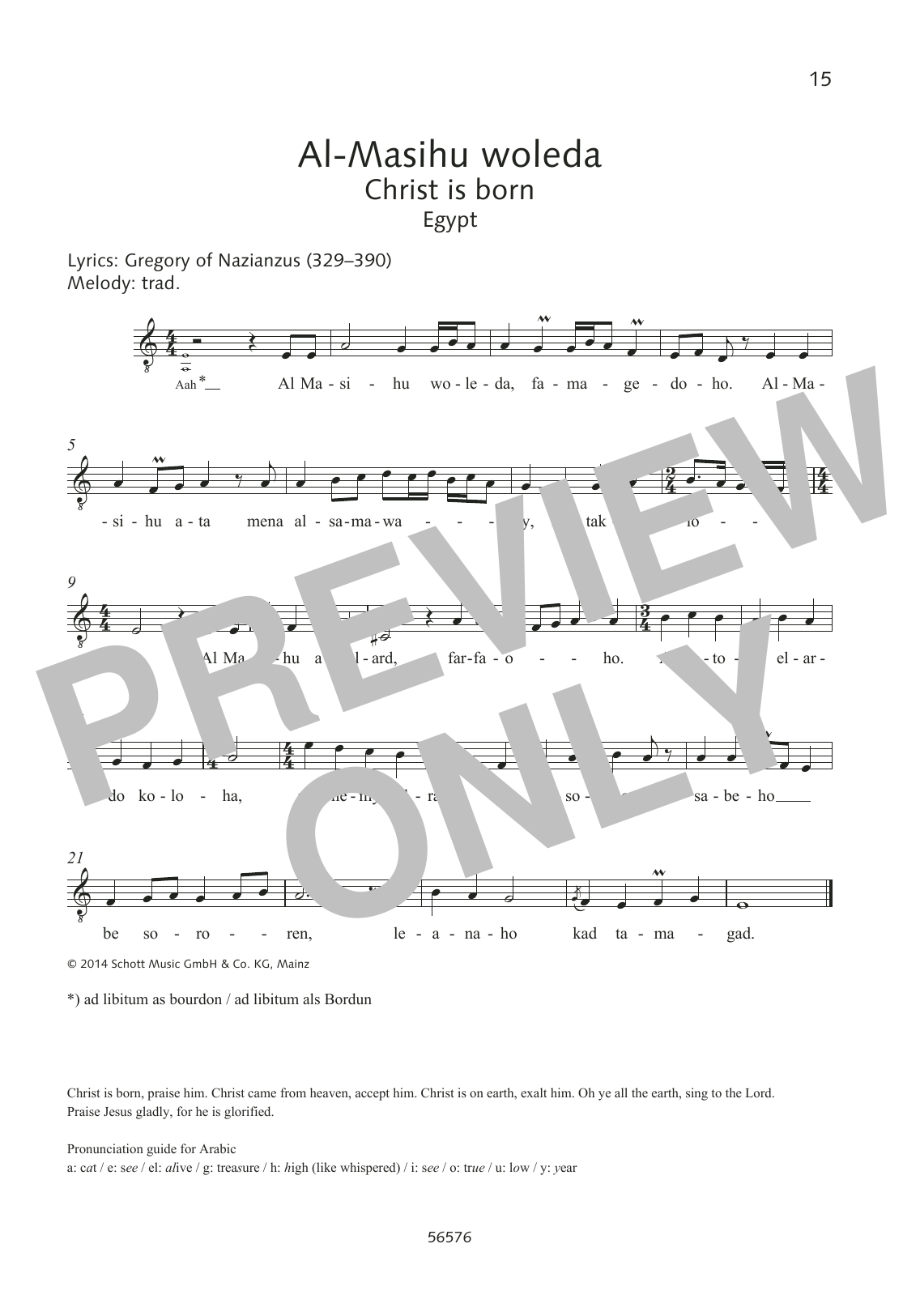 Gregory of Nazianzus Al-Masihu woleda sheet music preview music notes and score for Choir including 1 page(s)